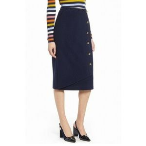 Halogen Buttoned Straight Pencil Wool Skirt